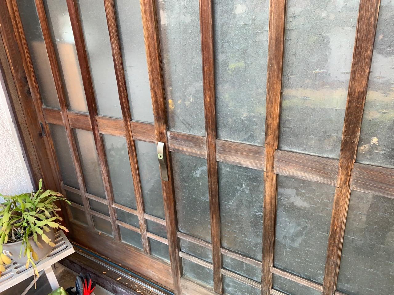 木製引違い戸 錠前取付